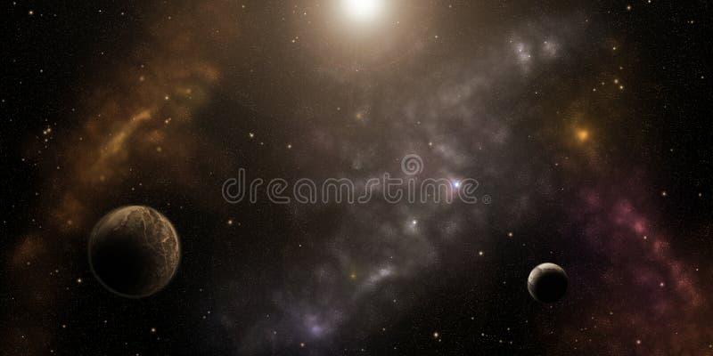 Kosmos, gwiazdy, nebulas i planety, Fantastyka naukowa tło ilustracja wektor