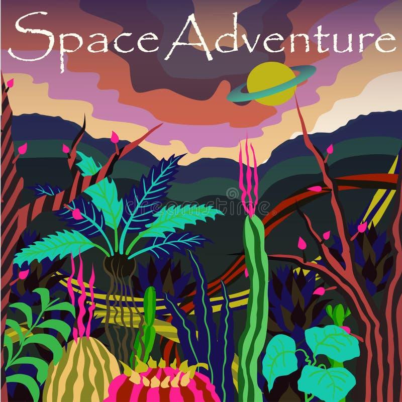 Kosmosbanner met fantastisch planeet en slogan` Ruimteavontuur ` Vector illustratie Retro Futurisme stock illustratie