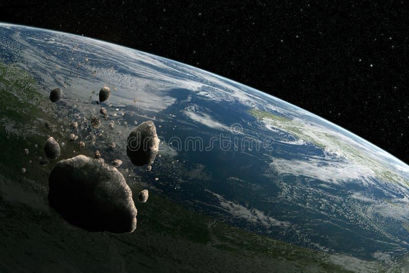Kosmosscène met asteroïde en aarde in ruimte stock illustratie