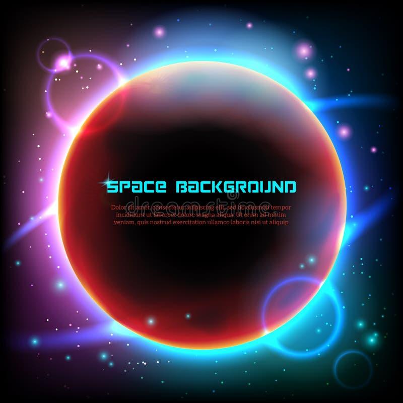 Kosmosu astronautycznego ciemnego tła plakatowy druk ilustracja wektor