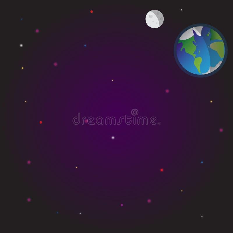 Kosmosu ilustracyjny wektorowy tło gwiazdy Ziemia księżyc Przestrzeń, sen i noc, ilustracji