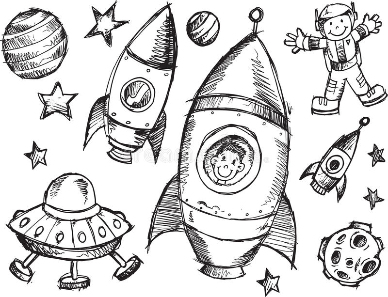 Kosmosu nakreślenia set ilustracji