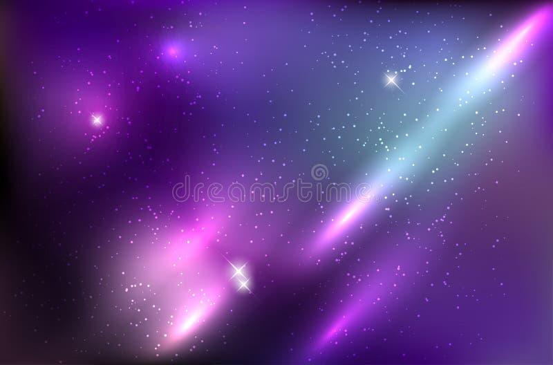 Kosmosu tło z błyszczącymi gwiazdami i promieniami royalty ilustracja