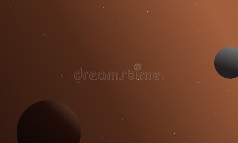 Kosmosu tło z planeta krajobrazem ilustracja wektor