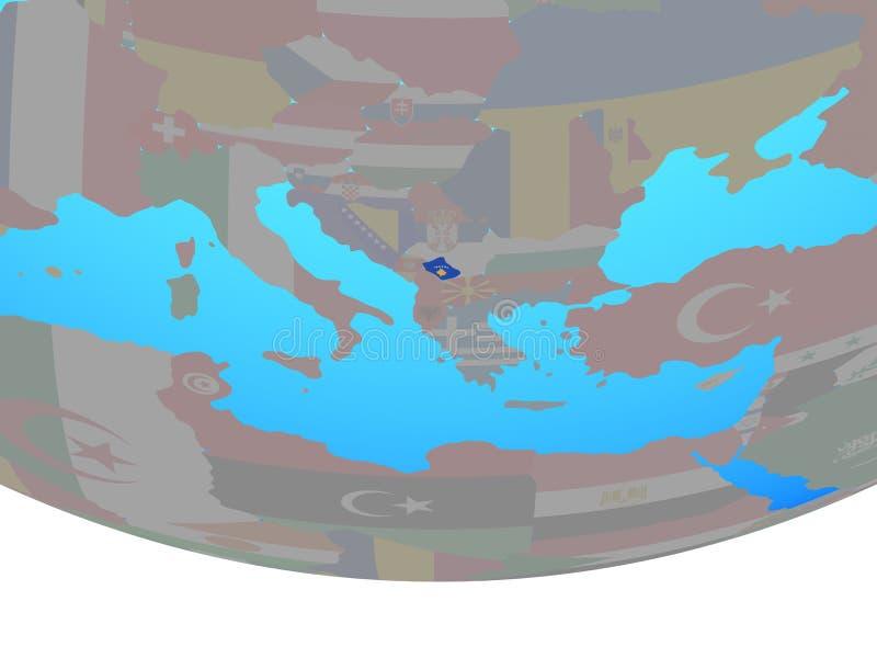 Kosovo con la bandera en el globo libre illustration