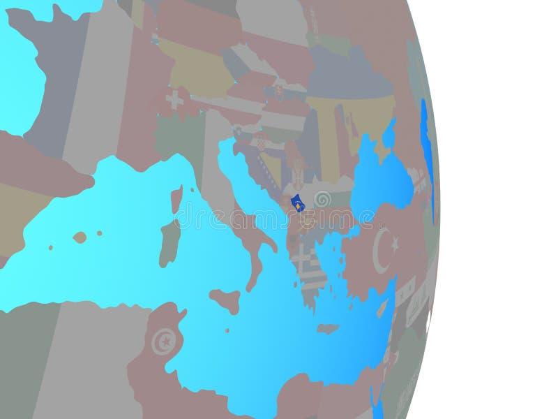 Kosovo con la bandera en el globo ilustración del vector