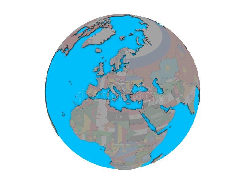 Kosovo con la bandera en el globo aislado stock de ilustración