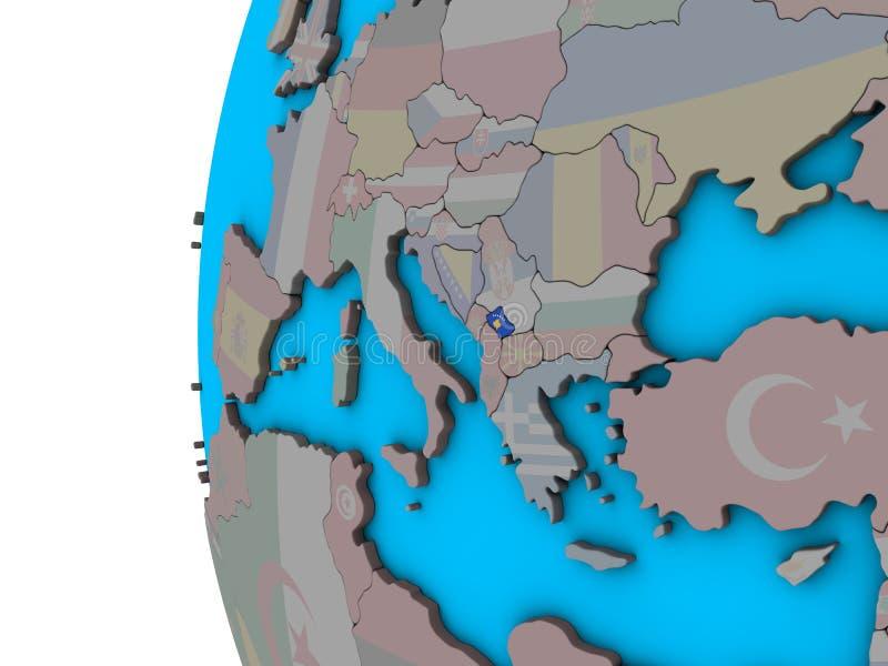 Kosovo con la bandera en el globo 3D ilustración del vector