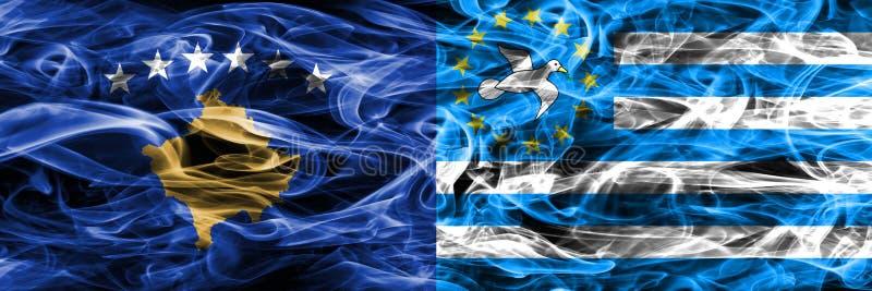 Kosovo contra las banderas del sur del humo del Camerún colocadas de lado a lado fotografía de archivo
