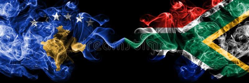 Kosovo contre l'Afrique du Sud, drapeaux mystiques fumeux africains placés côte à côte Épais coloré soyeux fume la combinaison de illustration de vecteur