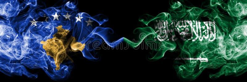 Kosovo contre l'Arabie Saoudite, drapeaux mystiques fumeux Arabes placés côte à côte Épais coloré soyeux fume la combinaison de K illustration stock