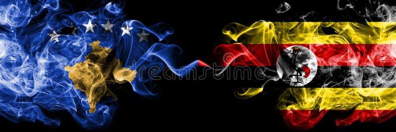 Kosovo contre l'Ouganda, drapeaux mystiques fumeux ougandais placés côte à côte Épais coloré soyeux fume la combinaison de Kosovo illustration stock