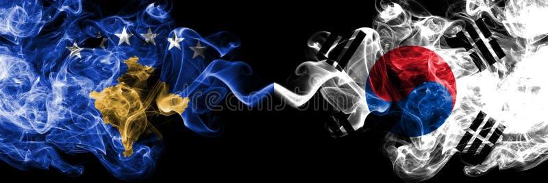 Kosovo contre la Corée du Sud, drapeaux mystiques fumeux coréens placés côte à côte Épais coloré soyeux fume la combinaison de Ko illustration libre de droits