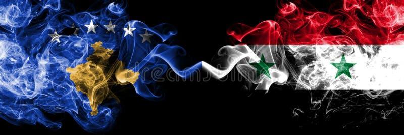 Kosovo contre la Syrie, drapeaux mystiques fumeux syriens placés côte à côte Épais coloré soyeux fume la combinaison de Kosovo et illustration de vecteur