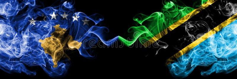 Kosovo contre la Tanzanie, drapeaux mystiques fumeux tanzaniens placés côte à côte Épais coloré soyeux fume la combinaison de Kos illustration stock