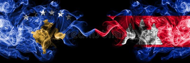 Kosovo contre le Cambodge, drapeaux mystiques fumeux cambodgiens placés côte à côte Épais coloré soyeux fume la combinaison de Ko illustration de vecteur