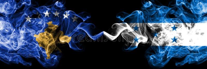 Kosovo contre le Honduras, drapeaux mystiques fumeux honduriens placés côte à côte Épais coloré soyeux fume la combinaison de Kos illustration de vecteur