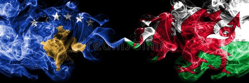Kosovo contre le Pays de Galles, drapeaux mystiques fumeux de Gallois placés côte à côte Épais coloré soyeux fume la combinaison  illustration de vecteur