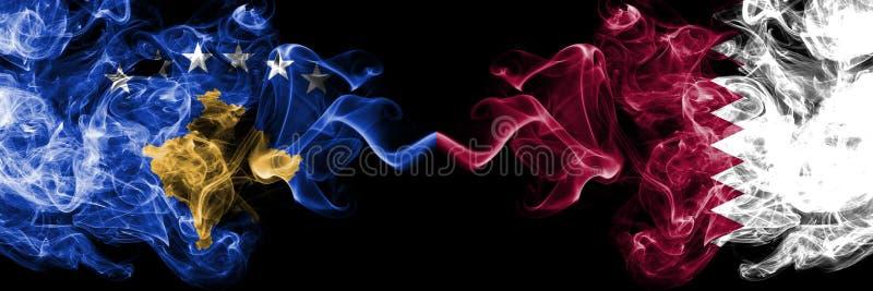 Kosovo contre le Qatar, drapeaux mystiques fumeux qataris placés côte à côte Épais coloré soyeux fume la combinaison de Kosovo et illustration stock