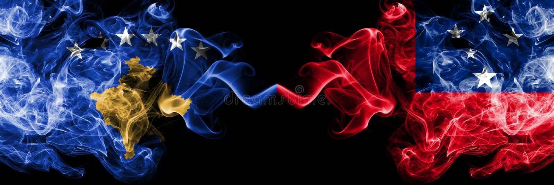 Kosovo contre le Samoa, drapeaux mystiques fumeux samoans placés côte à côte Épais coloré soyeux fume la combinaison de Kosovo et illustration de vecteur