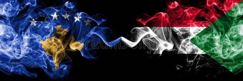 Kosovo contre le Soudan, drapeaux mystiques fumeux soudanais placés côte à côte Épais coloré soyeux fume la combinaison de Kosovo illustration de vecteur