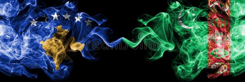 Kosovo contre le Turkménistan, drapeaux mystiques fumeux de Turkmenistans placés côte à côte Épais coloré soyeux fume la combinai illustration stock