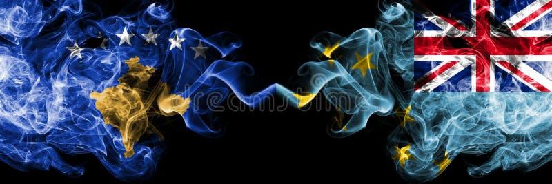 Kosovo contre le Tuvalu, drapeaux mystiques fumeux Tuvaluan placés côte à côte Épais coloré soyeux fume la combinaison de Kosovo  illustration de vecteur