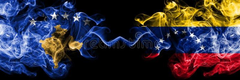 Kosovo contre le Venezuela, drapeaux mystiques fumeux vénézuéliens placés côte à côte Épais coloré soyeux fume la combinaison de  illustration stock