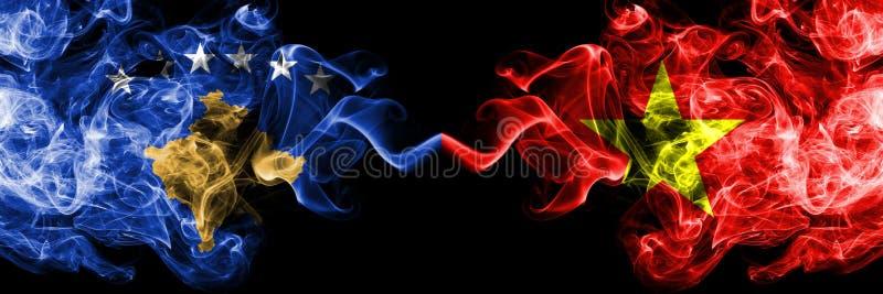 Kosovo contre le Vietnam, drapeaux mystiques fumeux vietnamiens placés côte à côte Épais coloré soyeux fume la combinaison de Kos illustration libre de droits