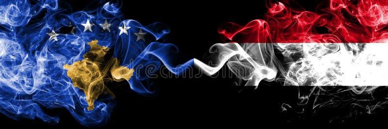 Kosovo contre le Yémen, drapeaux mystiques fumeux yéménites placés côte à côte Épais coloré soyeux fume la combinaison de Kosovo  illustration libre de droits