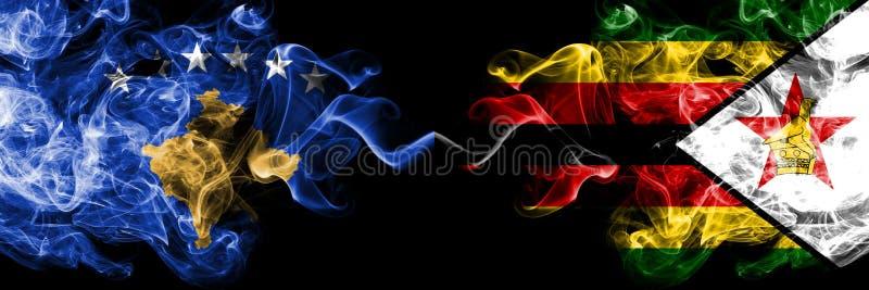 Kosovo contre le Zimbabwe, drapeaux mystiques fumeux zimbabwéens placés côte à côte Épais coloré soyeux fume la combinaison de Ko illustration libre de droits