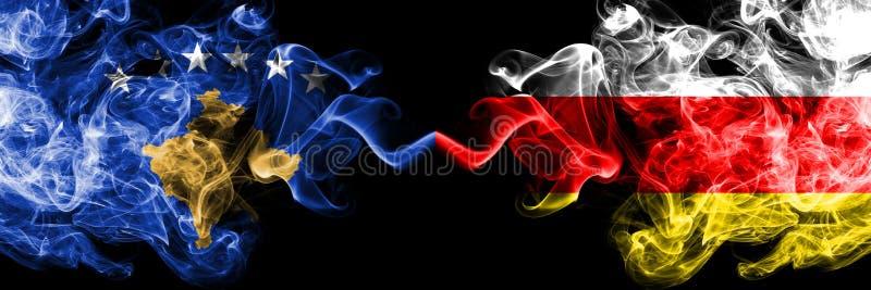 Kosovo contre les drapeaux mystiques fumeux de l'Ossétie-du-Sud placés côte à côte Épais coloré soyeux fume la combinaison de Kos illustration libre de droits