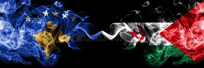 Kosovo contre les drapeaux mystiques fumeux de Sahrawi placés côte à côte Épais coloré soyeux fume la combinaison du drapeau de K illustration de vecteur