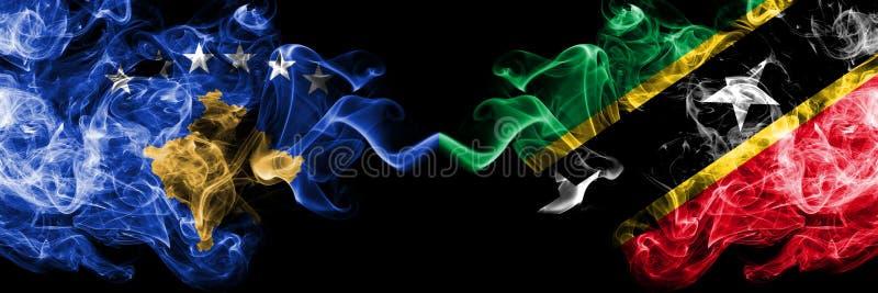 Kosovo contre les drapeaux mystiques fumeux de saint Kitts et du Niévès placés côte à côte Épais coloré soyeux fume la combinaiso illustration libre de droits
