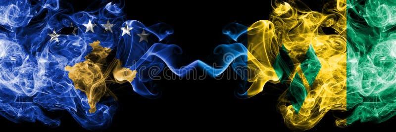 Kosovo contre les drapeaux mystiques fumeux de Saint-Vincent-et-les-Grenadines placés côte à côte Épais coloré soyeux fume la com illustration stock