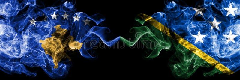 Kosovo contre les drapeaux mystiques fumeux de Solomon Islands placés côte à côte Épais coloré soyeux fume la combinaison de Koso illustration stock
