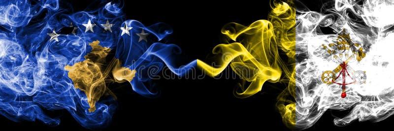 Kosovo contre les drapeaux mystiques fumeux de Ville du Vatican placés côte à côte Épais coloré soyeux fume la combinaison de Kos illustration de vecteur