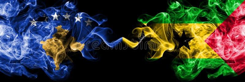 Kosovo contre les drapeaux mystiques fumeux du Sao-Tomé-et-Principe placés côte à côte Épais coloré soyeux fume la combinaison de illustration stock
