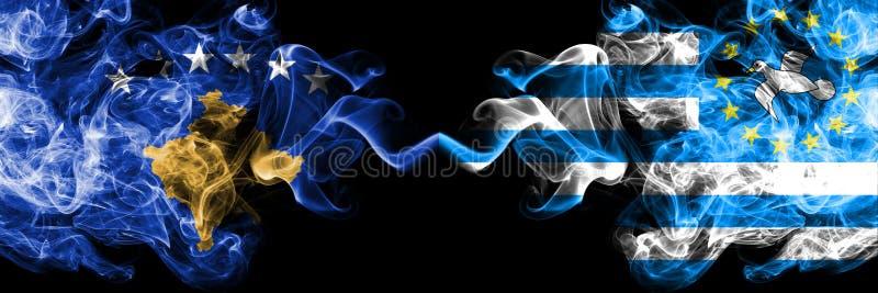 Kosovo contre les drapeaux mystiques fumeux du sud du Cameroun placés côte à côte Épais coloré soyeux fume la combinaison de Koso illustration stock