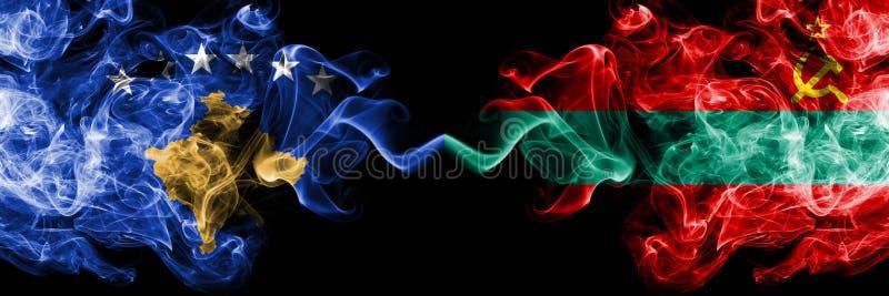 Kosovo contre les drapeaux mystiques fumeux du Transnistrie placés côte à côte Épais coloré soyeux fume la combinaison de Kosovo  illustration de vecteur