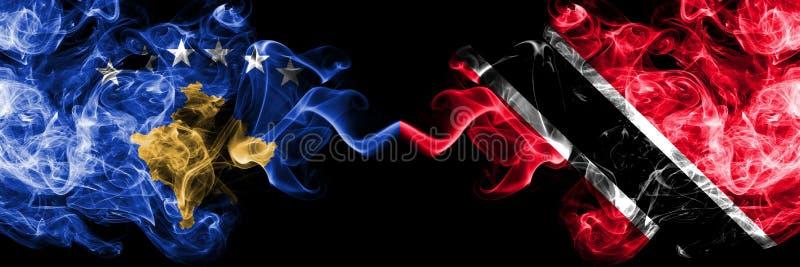 Kosovo contre les drapeaux mystiques fumeux du Trinidad-et-Tobago placés côte à côte Épais coloré soyeux fume la combinaison de K illustration libre de droits