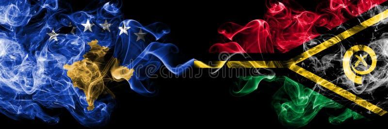 Kosovo contre les drapeaux mystiques fumeux du Vanuatu placés côte à côte Épais coloré soyeux fume la combinaison du drapeau de K illustration libre de droits