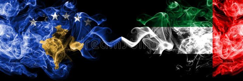 Kosovo contre les Emirats Arabes Unis, drapeaux mystiques fumeux d'Emirati placés côte à côte Épais coloré soyeux fume la combina illustration stock