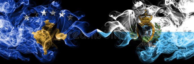 Kosovo contre République de Saint-Marin, drapeaux mystiques fumeux de Sammarinese placés côte à côte Épais coloré soyeux fume la  illustration libre de droits