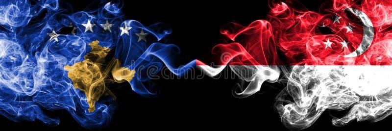 Kosovo contre Singapour, drapeaux mystiques fumeux singapouriens placés côte à côte Épais coloré soyeux fume la combinaison de Ko illustration de vecteur