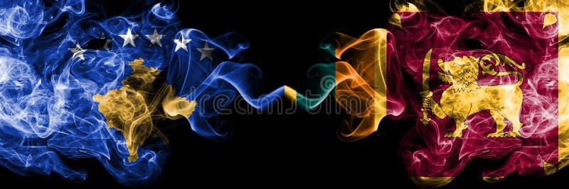 Kosovo contre Sri Lanka, drapeaux mystiques fumeux sri-lankais placés côte à côte Épais coloré soyeux fume la combinaison de Koso illustration de vecteur