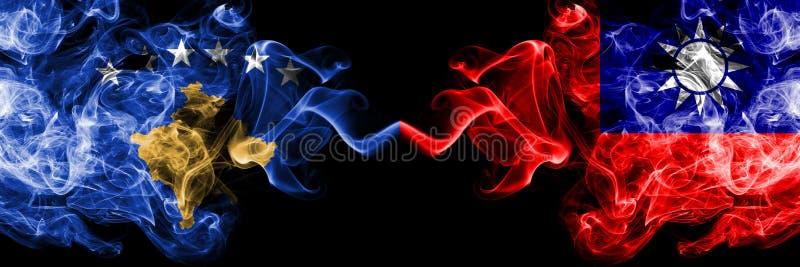 Kosovo contre Taïwan, drapeaux mystiques fumeux taiwanais placés côte à côte Épais coloré soyeux fume la combinaison de Kosovo et illustration de vecteur