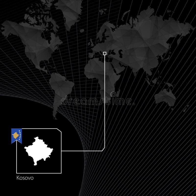 Kosovo en mapa del mundo negro Mapa y bandera de Kosovo ilustración del vector