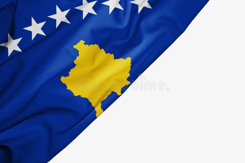 Kosovo flag of fabric with copyspace for your text on white background vector illustration