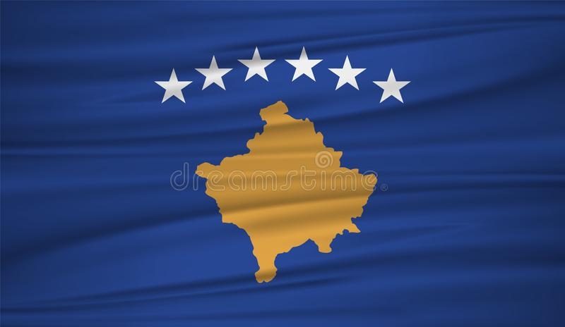 Kosovo flag vector. Vector flag of Kosovo blowig in the wind royalty free illustration